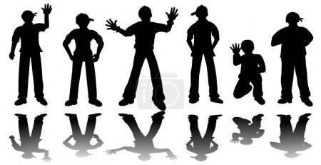 Silhouttes of hip-hop guys