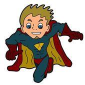Flying superhero cartoon isolated on a white background