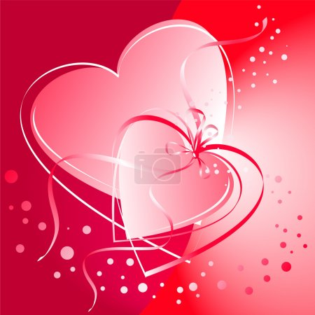 Illustration for Valentine's Day card. Linked heart on a red background. - Royalty Free Image