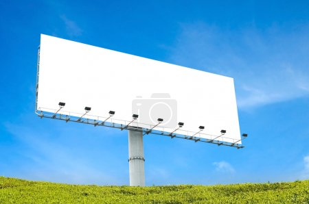 Photo for Blank billboard with blue sky and green grass - Royalty Free Image