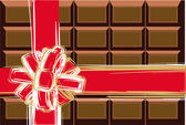 Chocolate and red ribbon