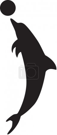 Illustration for The dolphin plays with a ball, isolated silhouette. Vector illustration - Royalty Free Image