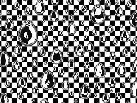 Photo pour Image abstraite. gouttes d'eau sur fond de carrés noirs et blancs . - image libre de droit