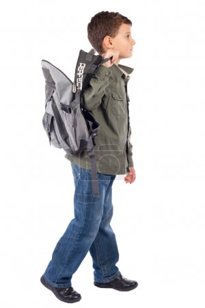 Cute schoolboy with backpack
