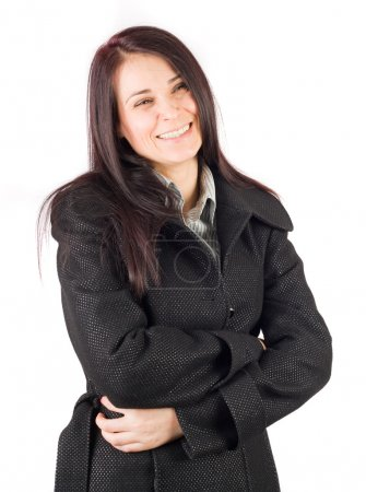 Brunette in overcoat