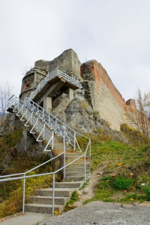 Photo for Ruins of Dracula's fortress on the top of a mountain in Poenari, Romania - Royalty Free Image