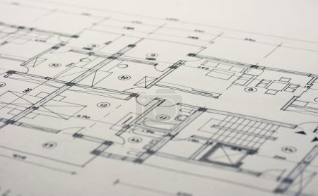 Photo for Close up shot of some architectural plans. - Royalty Free Image