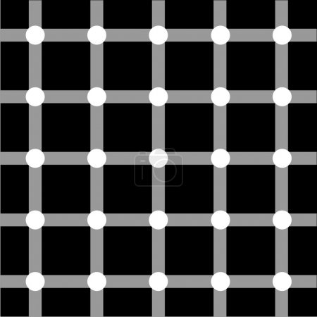 Illustration for Optical art grid in black and grey with white dots - Royalty Free Image