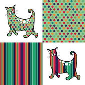 Retro style cats with their respective textures aside Colorful dots and lines backgrounds