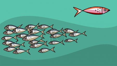 Illustration pour Différents poissons nageant contre la marée. Contexte vert. Vecteur disponible - image libre de droit