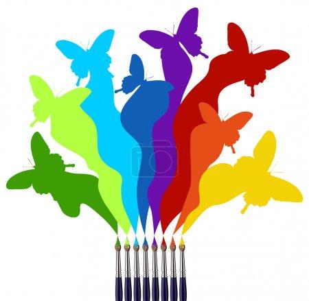 Photo pour Huit pinceaux dessinant un arc-en-ciel coloré d'un essaim de papillons. Fond blanc - image libre de droit