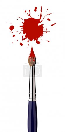 Illustration for Single paint brush with red splattered paint. White background. Vector available - Royalty Free Image