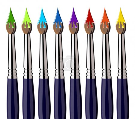 Illustration for Eight brushes aligned with colorful splattered paint. White background. Vector available - Royalty Free Image
