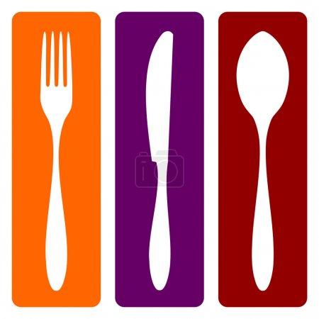 Illustration pour Icônes de couverts. Silhouettes de fourchette, couteau et cuillère sur différents fonds. Vecteur disponible - image libre de droit