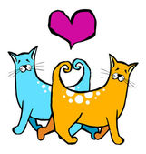 Cats with their tails forming a heart Valantines card pet motifs
