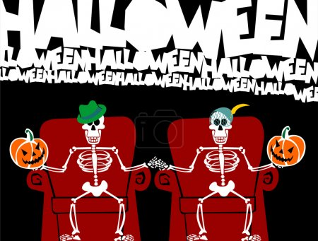 Halloween skeleton couple watching TV
