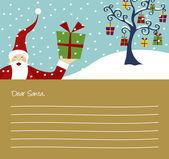 Carta di Babbo Natale e albero di Natale