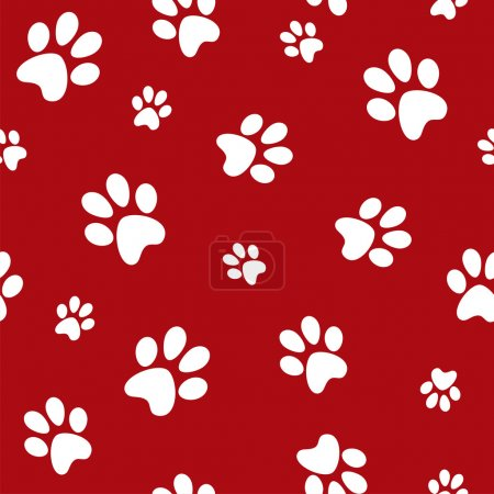 Illustration for White dog footprints on red background vector - Royalty Free Image