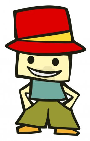 Illustration for Friendly boy with his hands in his pockets and a funny red hat. Suitable for comics or cartoon character. Vector available - Royalty Free Image