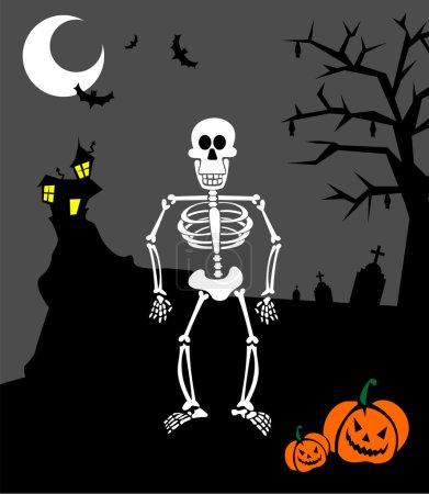 Halloween pumpkins and skeleton. Scary b