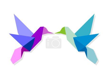 Couple of colorful origami hummingbird