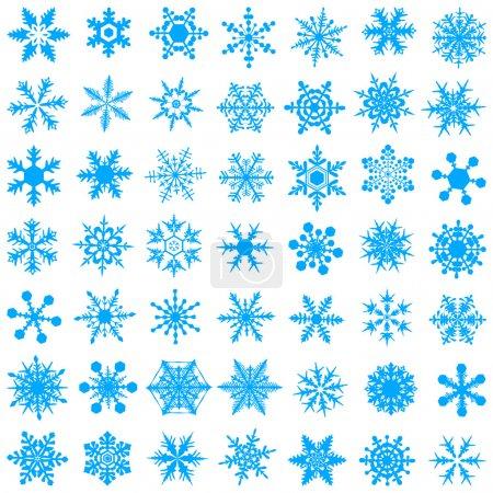 Illustration pour Flocons de neige à gradient cristallin froid - ensemble vectoriel - image libre de droit