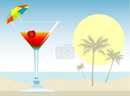 Illustration for Cocktail at the beach - Royalty Free Image