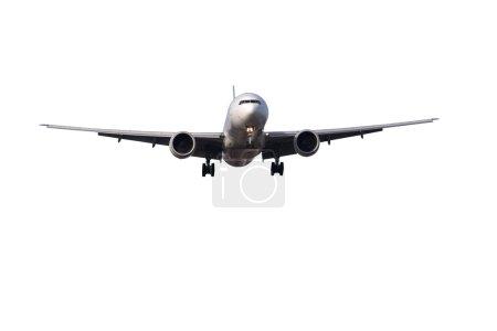 Photo pour Grand avion en approche finale à la terre isolé sur blanc - image libre de droit