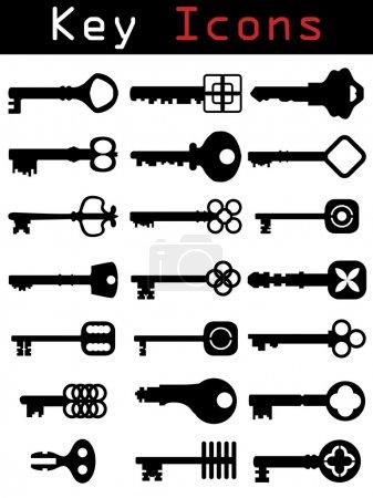 Illustration pour Ensemble de silhouette clé style rétro - image libre de droit