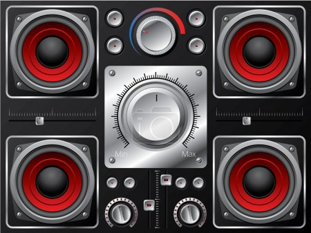 Illustration for Red speaker set with amplifier and knobs - Royalty Free Image