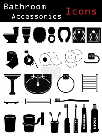 Illustration for Bathroom accessories icons - Royalty Free Image