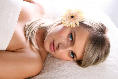 Beautiful blonde girl relaxing
