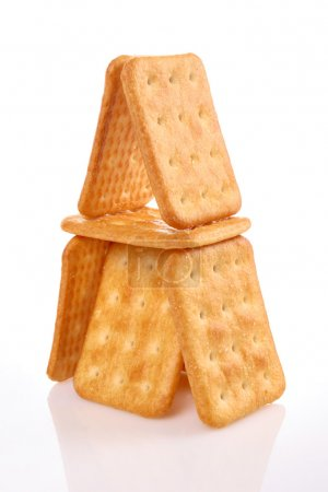 Photo for Pyramid crackers on white background, sweet food - Royalty Free Image