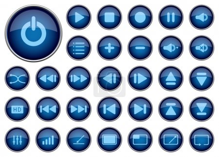Media player icons, vector illustration