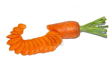 Photo for Healthy vegetable carrot slice on white background - Royalty Free Image