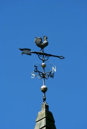 Old historic roof with weather vane