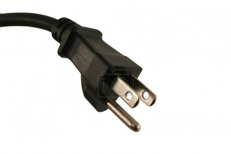 Isolated Black Electric cord plug
