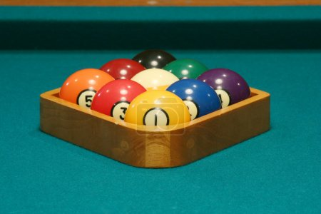 Photo for Racked balls set for a game of 9 ball - Royalty Free Image