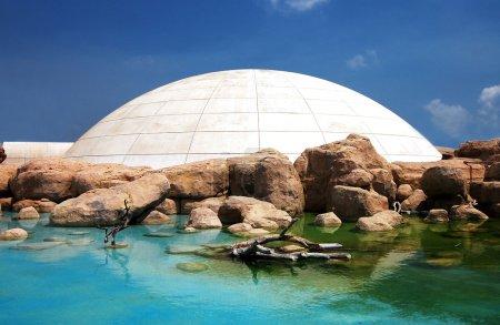 Photo pour Maison de glace simulée parmi les roches et l'eau - image libre de droit