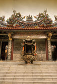 Chinese incense burner and temple