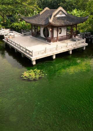 Chinese building near the pond