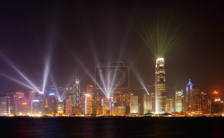 Night scenes of rays show in HK
