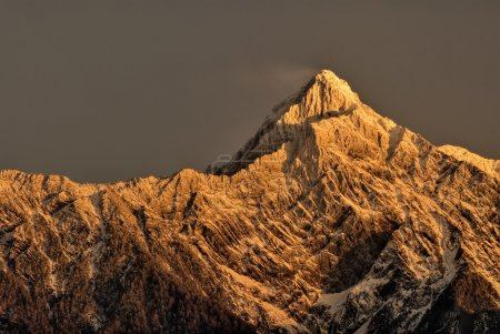 Mountain peak in dawn
