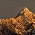 Mountain peak in dawn. East Asia highest mountain ...