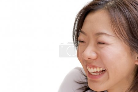 Photo for Portrait of happy Asian beauty smile expression on white background. - Royalty Free Image