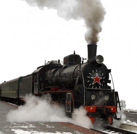 Steam locomotive.Ancient train with a steam locomotive