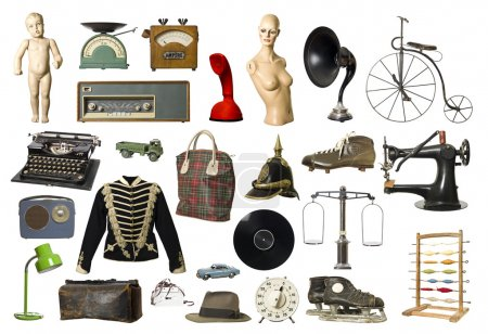Photo pour Collage de produits Vintage isolés sur fond blanc - image libre de droit
