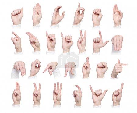 Photo pour Mains formant la langue des signes internationale isolée sur fond blanc - image libre de droit