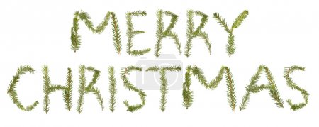 Photo for Spruce twigs forming the phrase 'MERRY CHRISTMAS'' isolated on white - Royalty Free Image