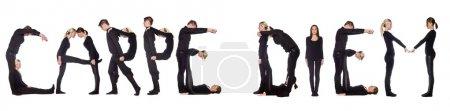 """Photo pour Groupe de formation de l'expression """"CARPE DIEM"""", isolé sur fond blanc . - image libre de droit"""